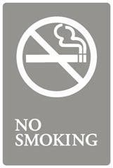 SIGN,NO SMOKING,6X9,GRAY