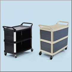 UTILITY CART,3 SIDES CLOSED,BLACK